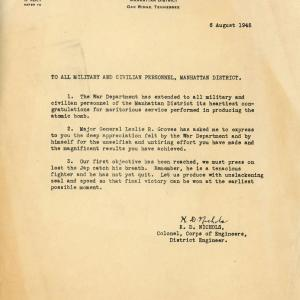 Letter from Colonel Kenneth Nichols to Manhattan Project personnel