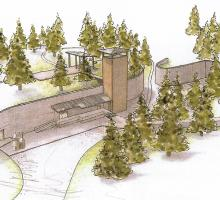 A rendering of the proposed restored Gun Site at Los Alamos