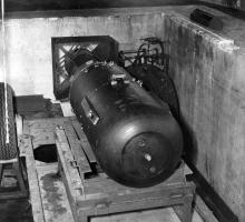 Little Boy ready to be loaded into the Enola Gay