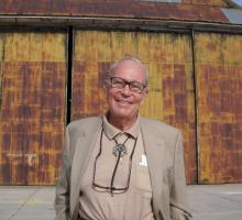 Dick Jeppson in front of the Enola Gay hangar at Wendover