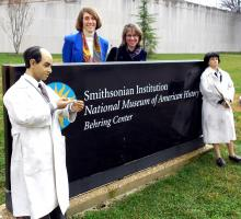 Enrico and Leona saying goodbye to the National Museum of American History, with Cindy Kelly and Alexandra Levy
