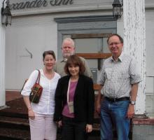 NTHP's Nancy Tinker and Betsy Merritt with DOE's Skip Gosling and Terry Fehner in front of the Alexander Inn at Oak Ridge