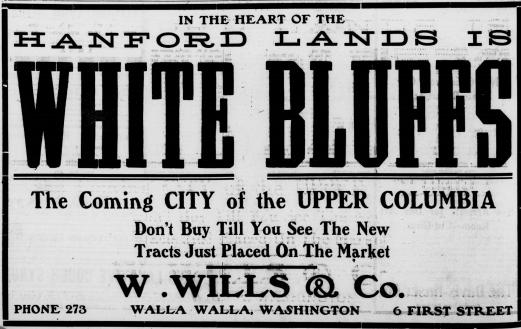 Walla Walla Evening Statesman advertisement for White Bluffs lands, February 17, 1908. Photo courtesy of Our Hanford History.