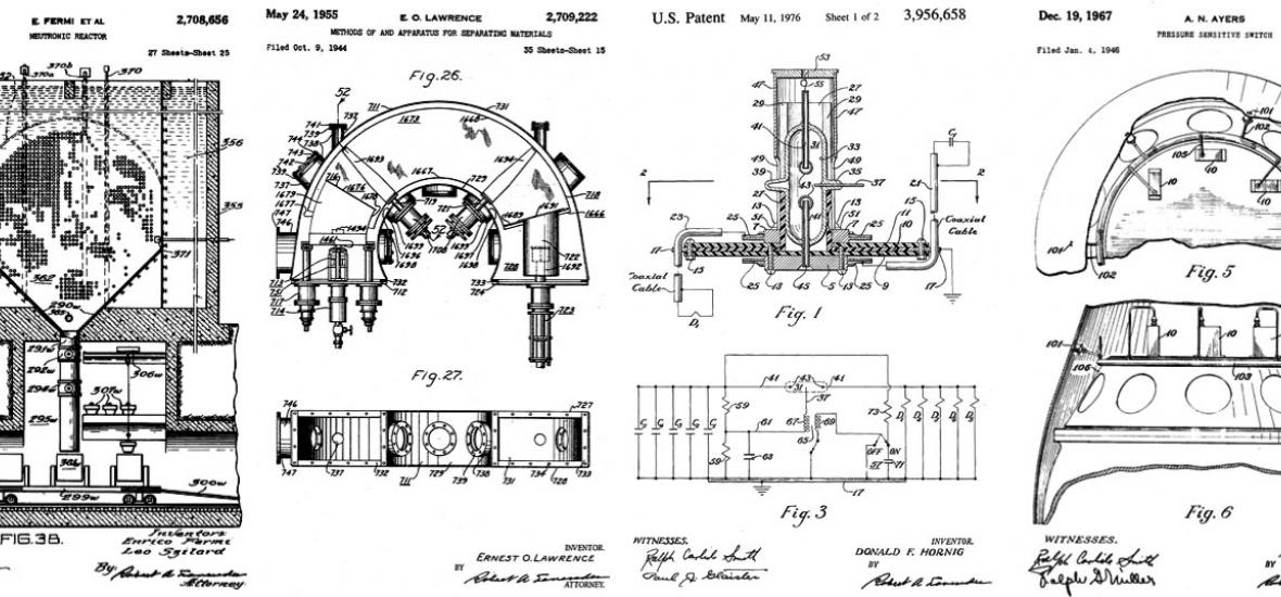 Various atomic patents. Image courtesy of Alex Wellerstein, Restricted Data: The Nuclear Secrecy Blog.