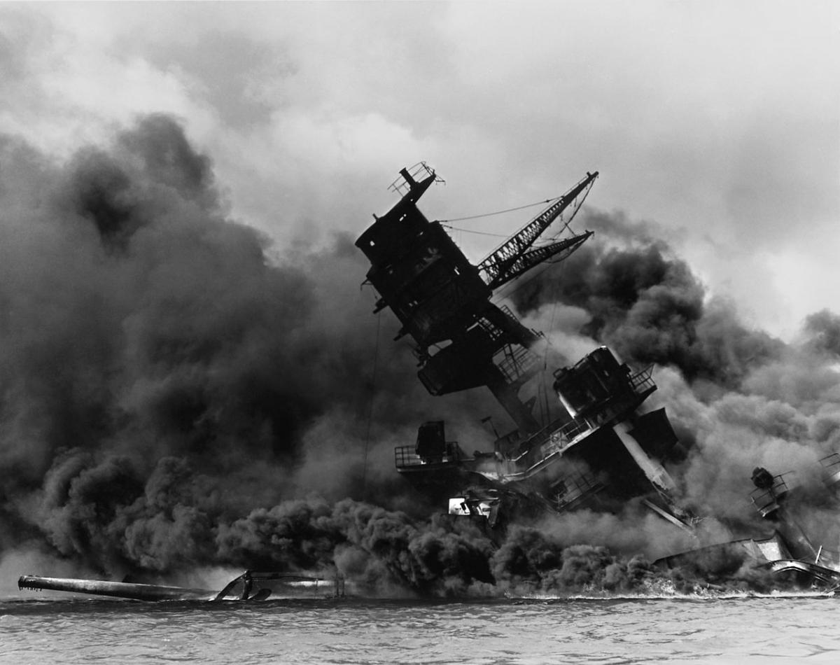 The USS Arizona under attack