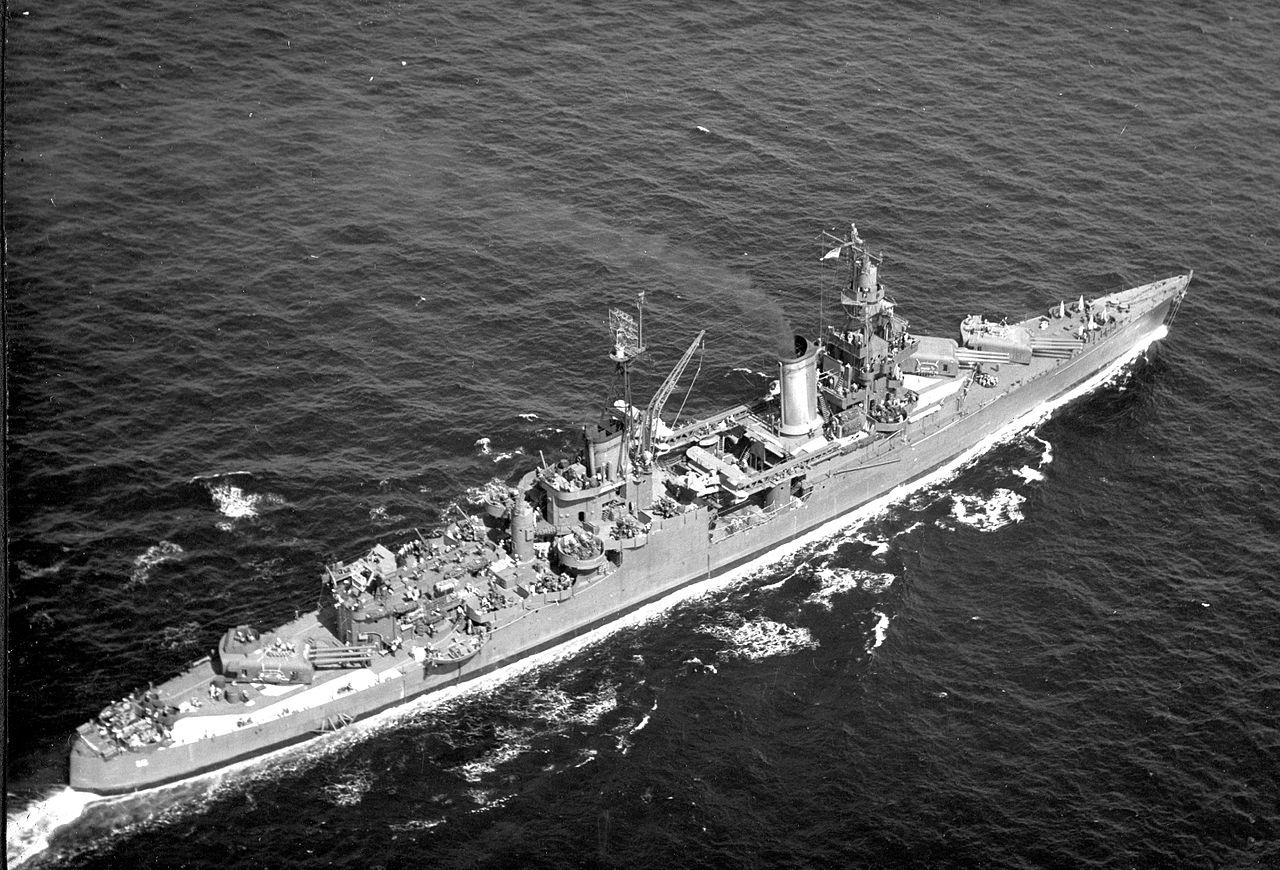 USS Indianapolis, seen from the air, 1945