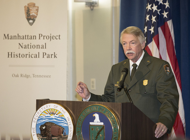 National Park Service Director Jonathan B. Jarvis, shares a story about the Manhattan Project National Historical Park (Est. November 10, 2015). Photo Courtesy of the National Park Service Flickr: https://www.flickr.com/photos/nationalparkservice/22305678
