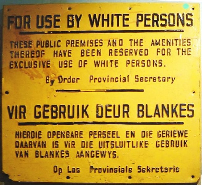 An apartheid-era sign in South Africa