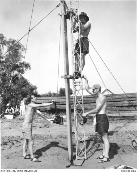 British workers prepare a radio antenna for Operation Hurricane