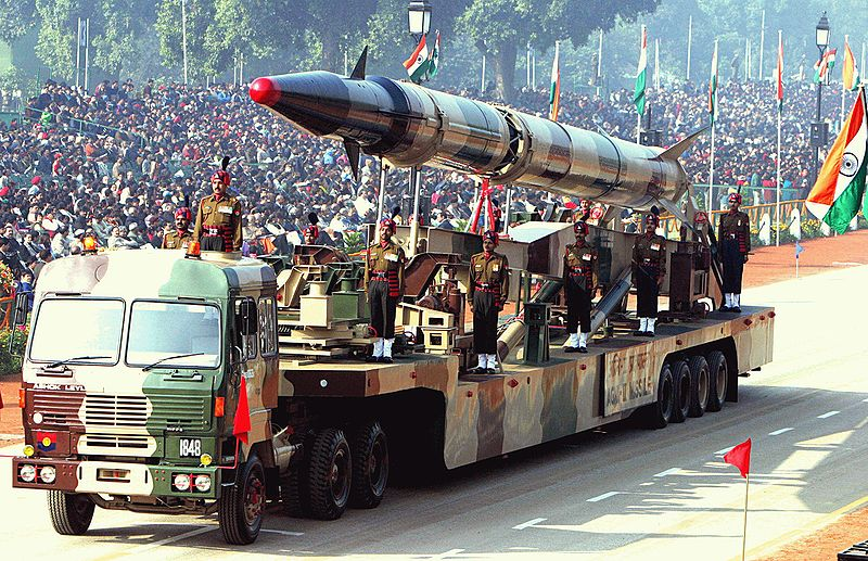An Agni-II intermediate-range ballistic missile during a parade in New Delhi, 2004