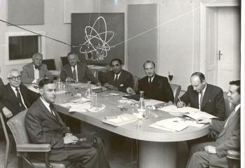Bertrand Goldschmidt (third from right) at a meeting for the Scientific Advisory Committee of the IAEA.