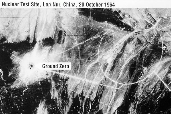 A satellite image of Lop Nur days after China's first nuclear test