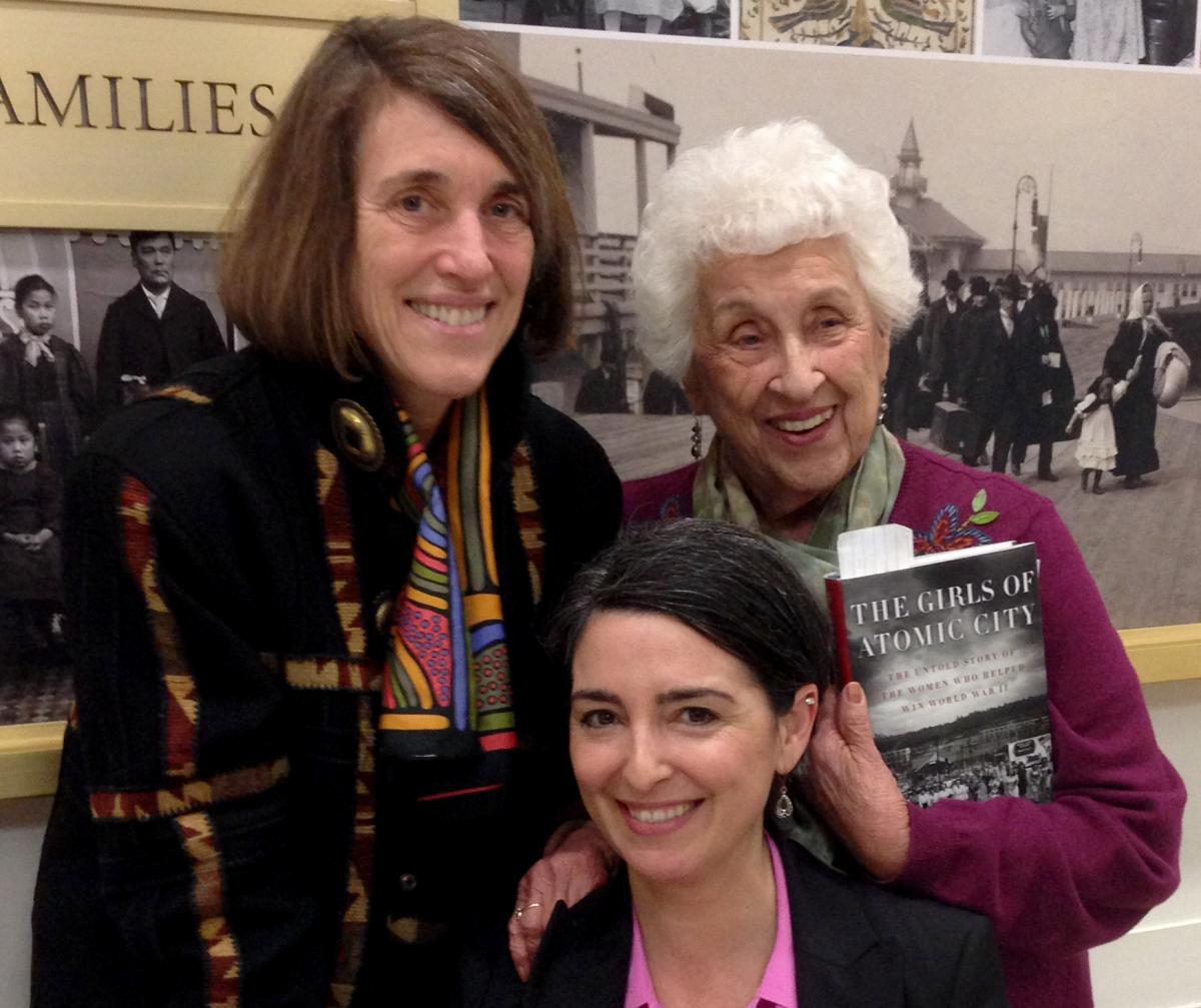 "AHF President Cindy Kelly, ""The Girls of Atomic City"" author Denise Kiernan, and Manhattan Project veteran Rosemary Lane"