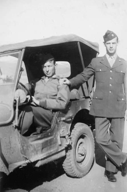 John Crimmons in Jeep and Ken Johnson at Los Alamos, 1946