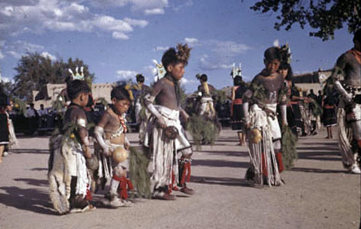 Dances at San Ildefonso Pueblo, 1946. Photo courtesy of the Bretscher Papers, Churchill College, Cambridge