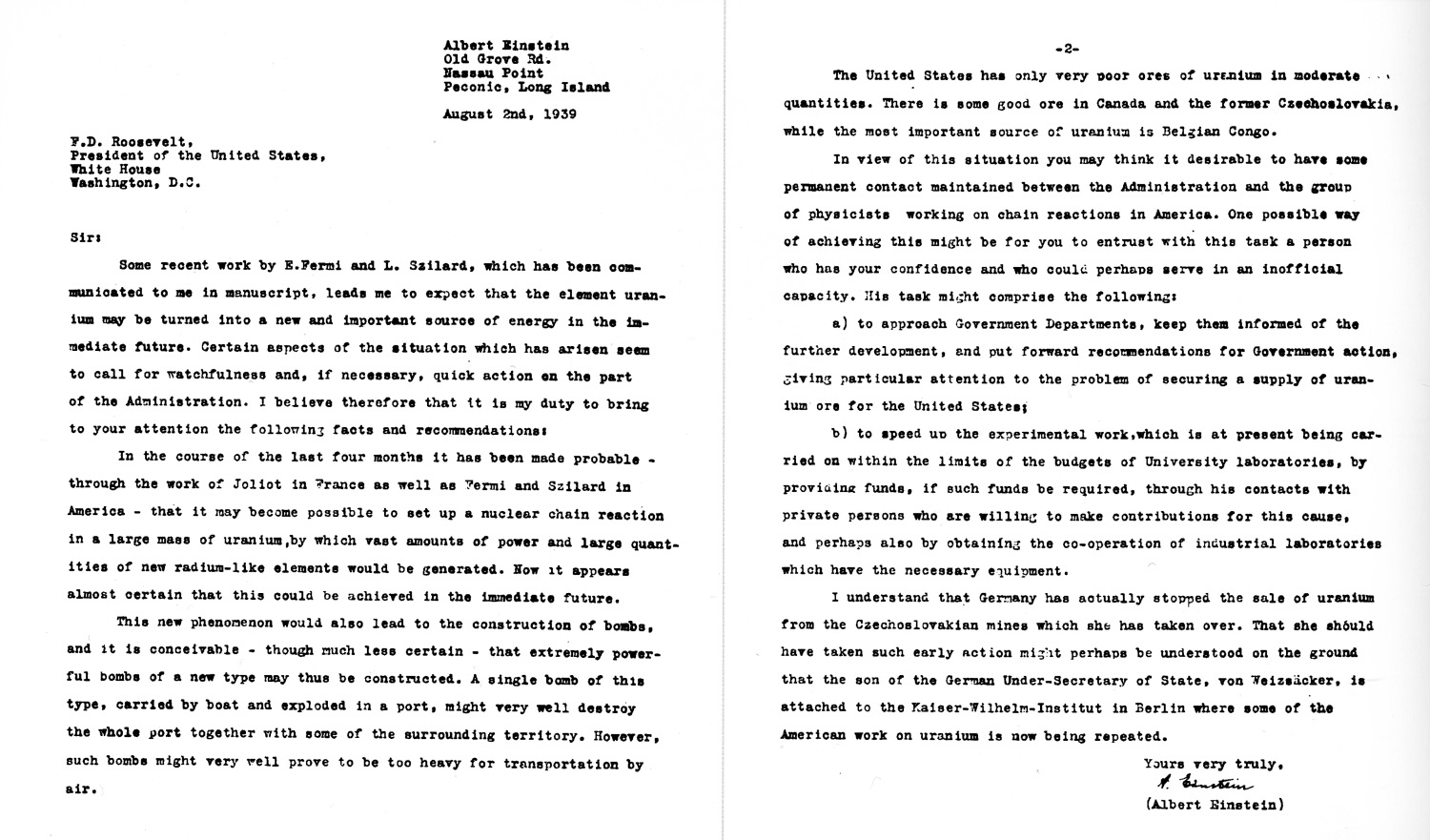 EinsteinSzilard Letter  Atomic Heritage Foundation