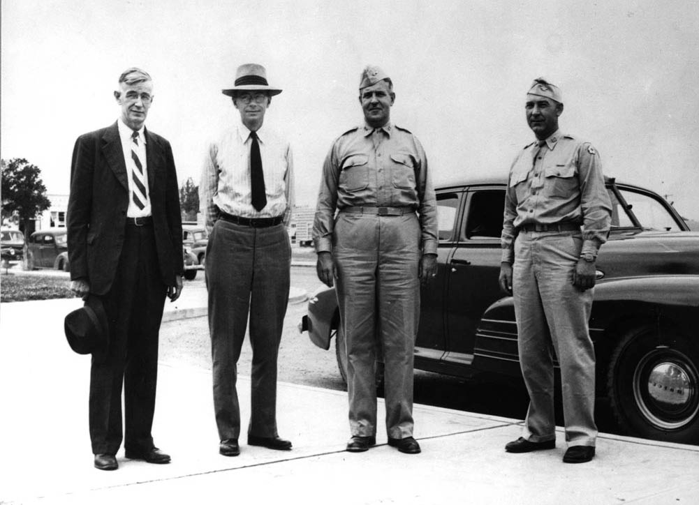 Hanford Site Selection Team - Left to right: Vannevar Bush, James B. Conant, General Leslie Groves, and Colonel Franklin T. Matthias