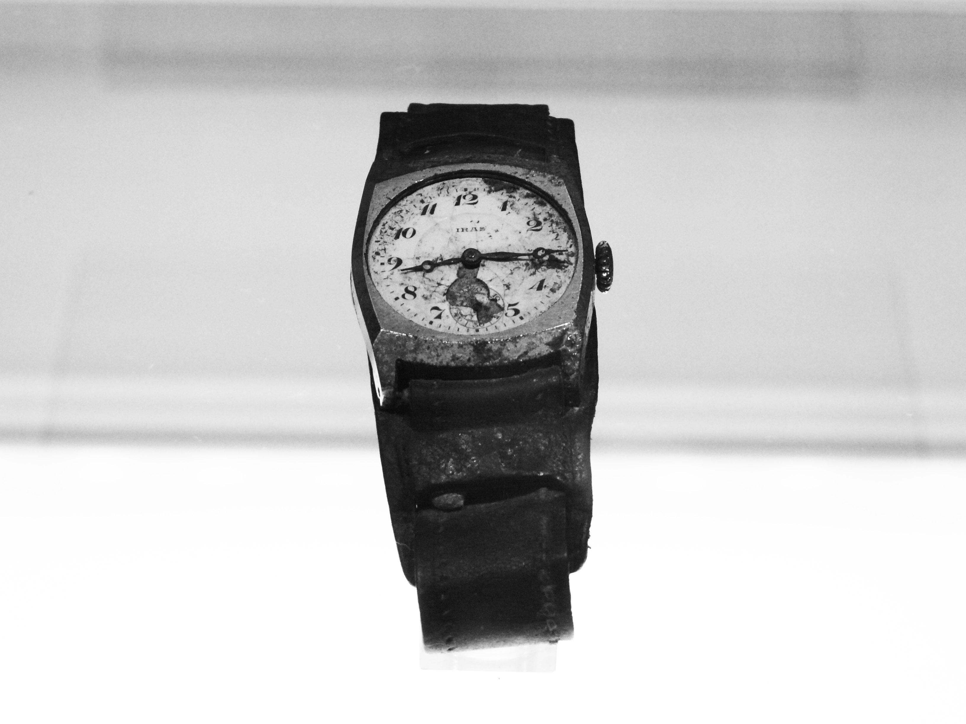 A watch recovered from Hiroshima, stopped at 8:15 AM,  the moment of the bombing