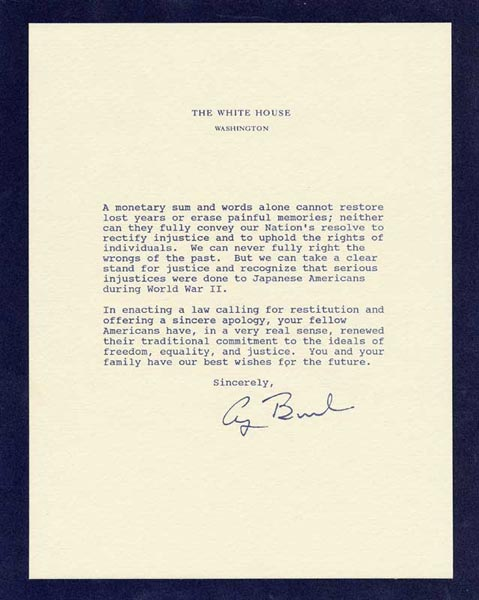 The Incarceration Of Japaneseamericans During World War Ii  Atomic  Apology Letter From President Bush
