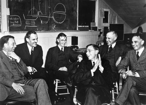 E. O. Lawrence, A. H. Compton, V. Bush, J. B. Conant, K. Compton, and A. Loomis in March 1940 at UC Berkeley meeting.