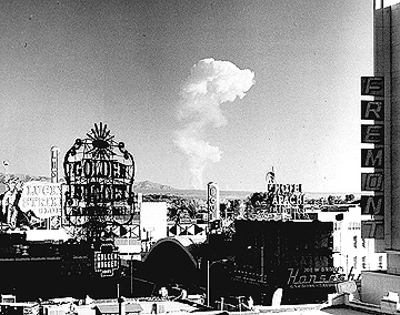 A mushroom cloud seen from downtown Las Vegas