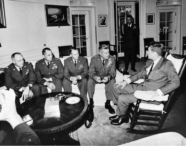 President Kennedy meets in the Oval Office with the pilots who flew reconnaissance missions over Cuba, October 1962