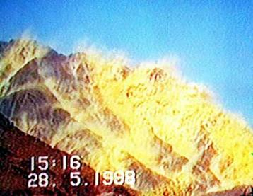 Screenshot from the televised Chagai-I nuclear test