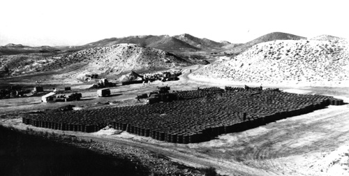 Barrels of contaminated soil at Palomares, 1966