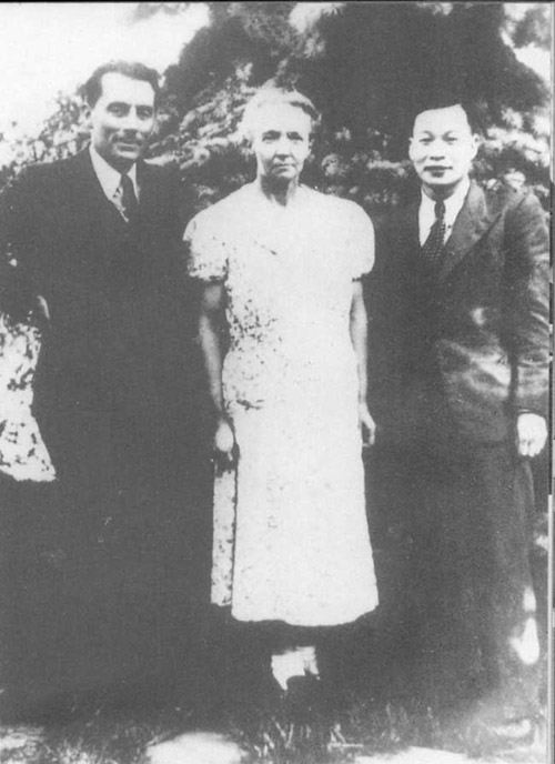 Qian Sanqiang with Frederic and Irene Joliot-Curie, 1948