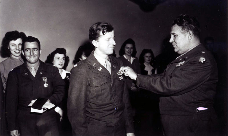 Maj. Robert Furman receives the Legion of Merit from General Groves in December 1945 for his work on the Alsos Mission