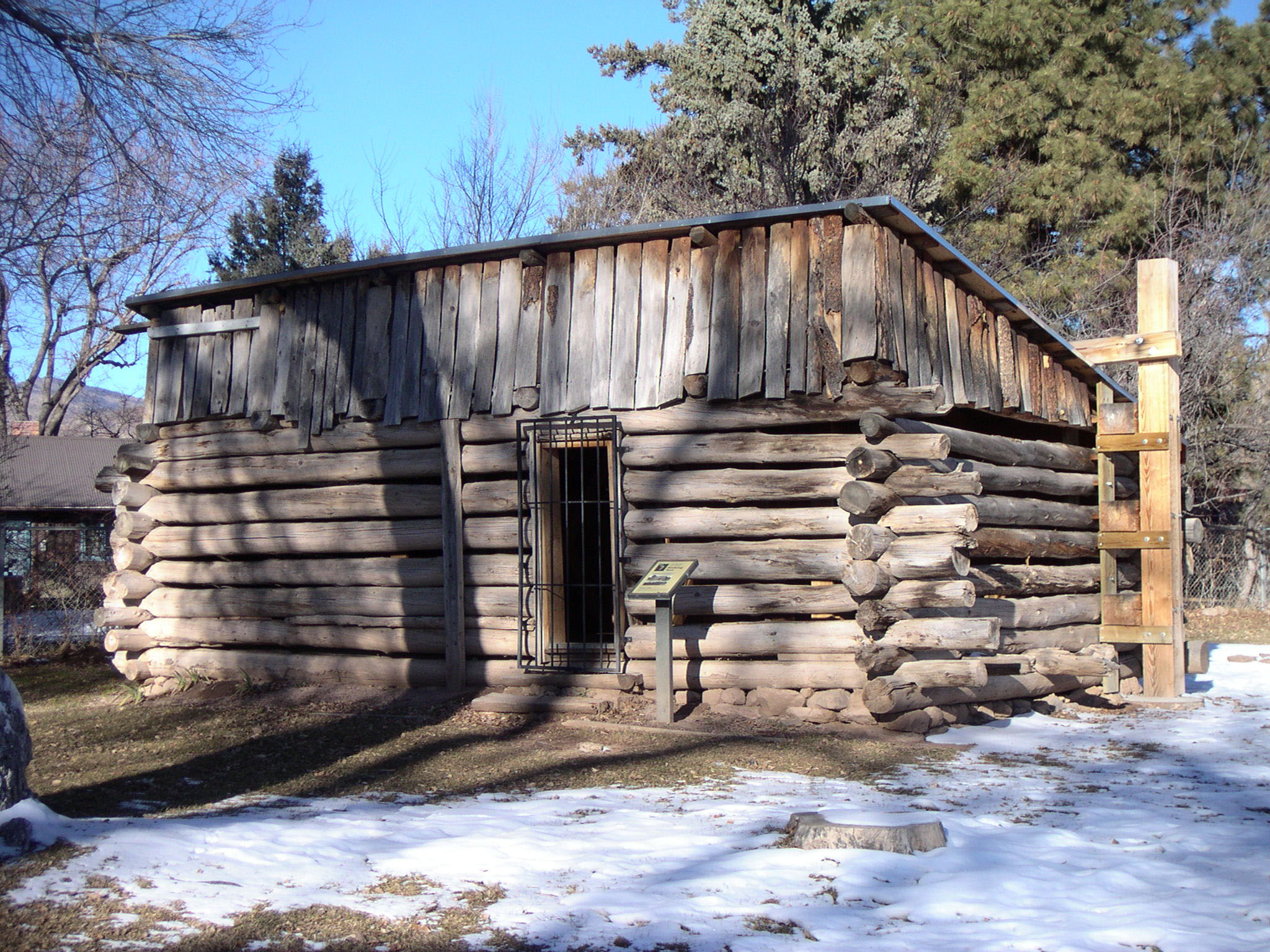 The Romero Cabin, built by Hispano homesteaders in 1913, is one of only two remaining structures from the Homesteading era on the Pajarito Plateau