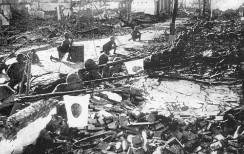 Japanese troops in the ruins of Shanghai, 1937