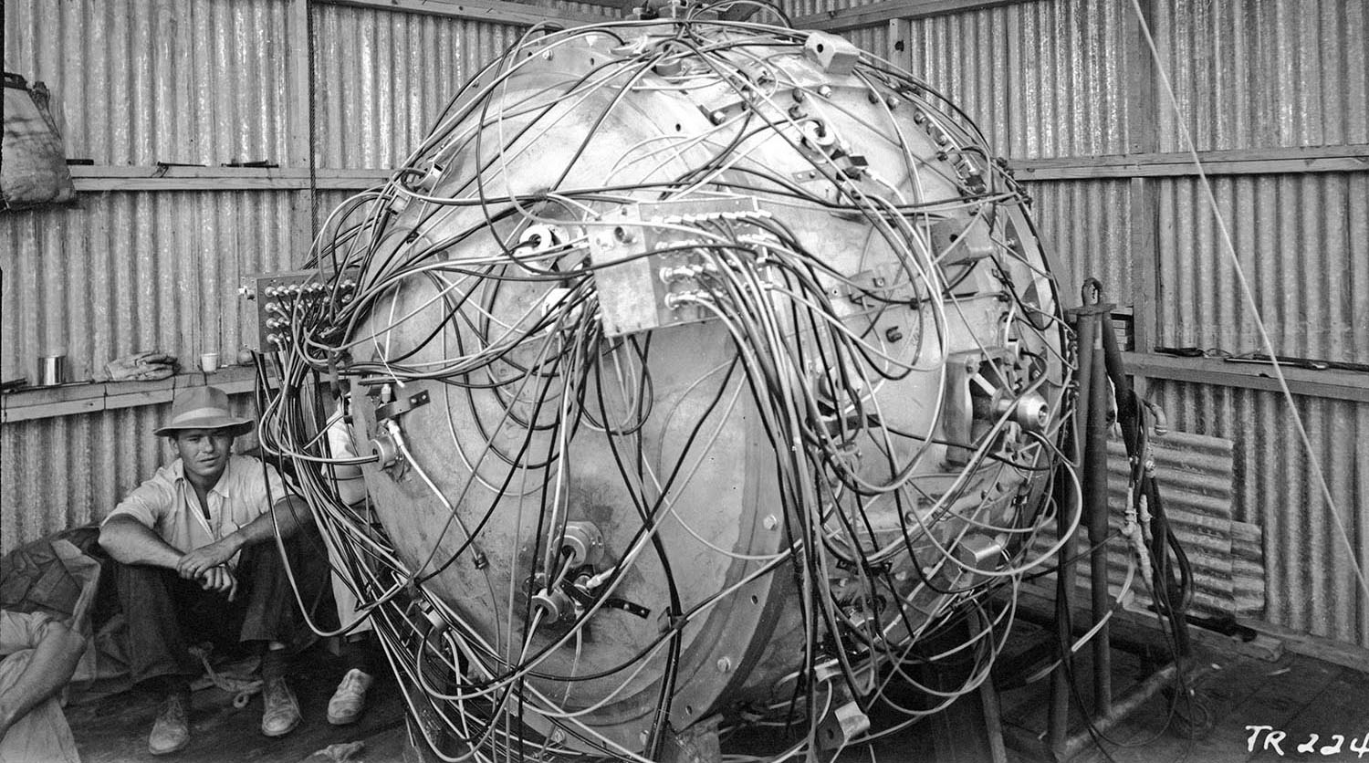 The Gadget in the test tower. Photo courtesy of Los Alamos National Laboratory.
