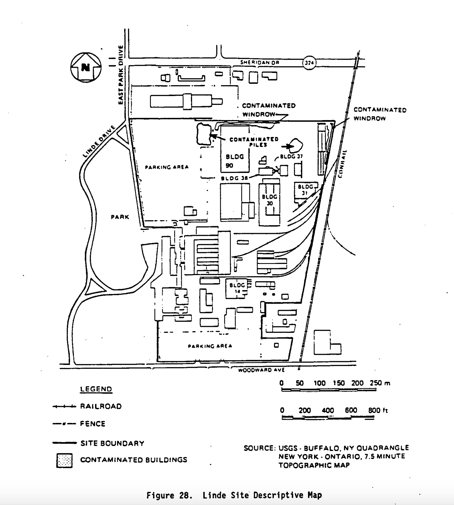 Tonawanda Linde Site Map. Courtesy of DOE Report, 1991.