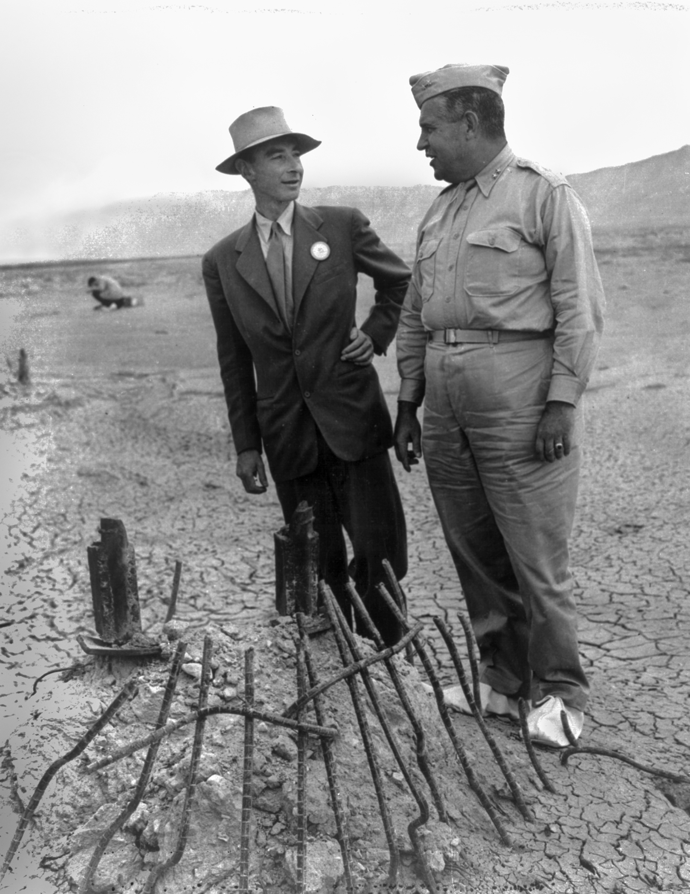 General Leslie Groves and J. Robert Oppenheimer at the Trinity test