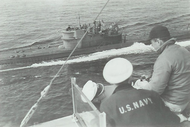 U-boat U-234 surrenders to the USS Sutton