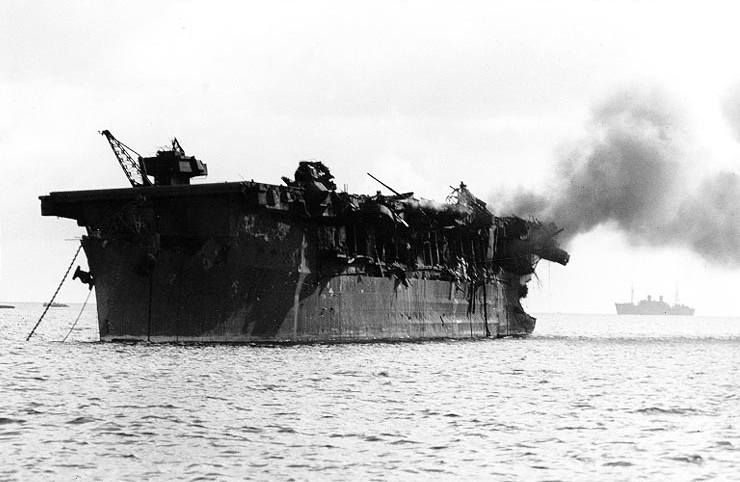 USS Independence burns after ABLE shot