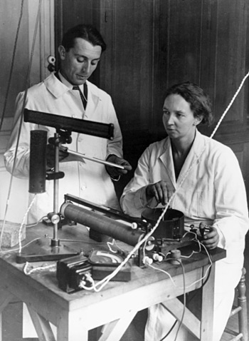 Frederic Juliot-Curie and his wife, Marie at their laboratory at the College of France. Photo courtesy the Association Curie Joliot-Curie