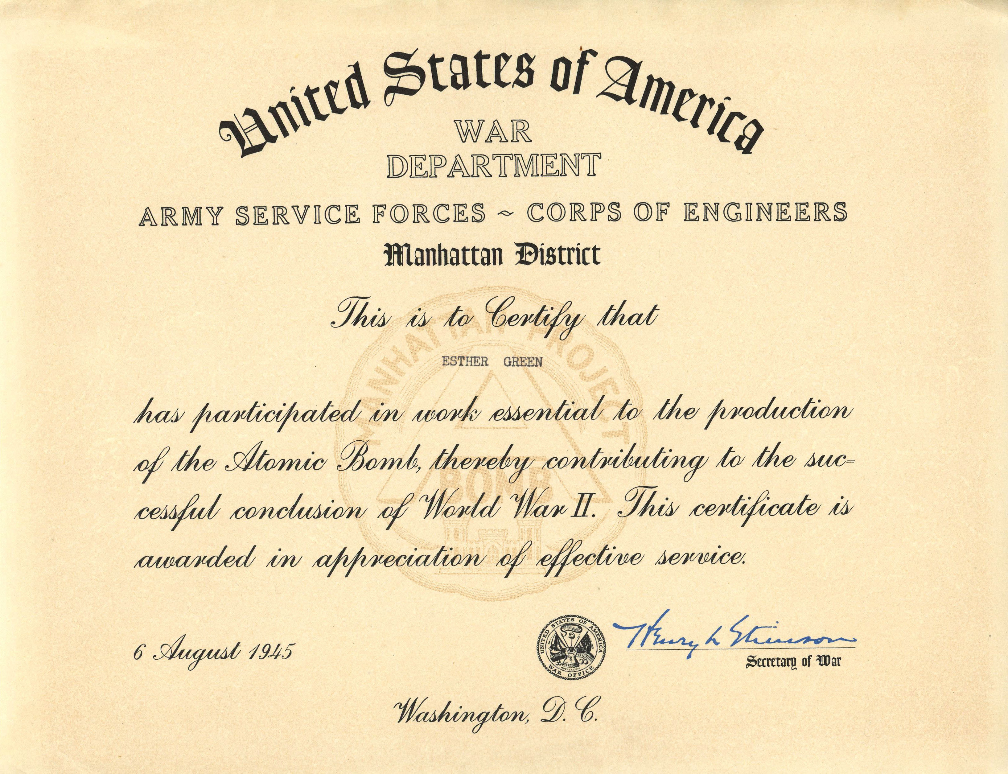Esther floth atomic heritage foundation esther039s manhattan project certificate from the war department aiddatafo Choice Image