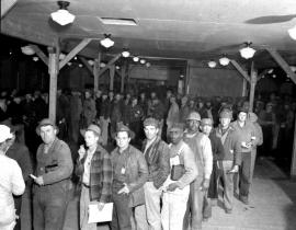 Hanford workers waiting at the bank during the Manhattan Project in 1944