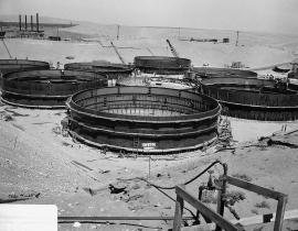 Waste tanks under construction at Hanford in 1944