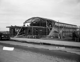The Richland theater under construction during the Manhattan Project