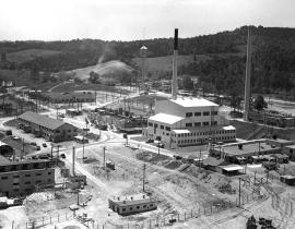 An aerial of the X-10 Graphite Reactor in 1947