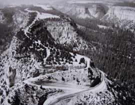 Aerial view of Los Alamos road on mesa