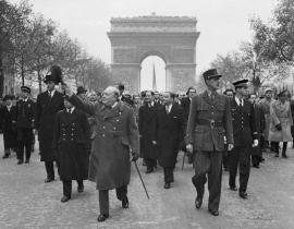 British Prime Minister Winston Churchill and French General Charles de Gaulle by the Arc de Triomphe after Paris was reclaimed from the Nazis