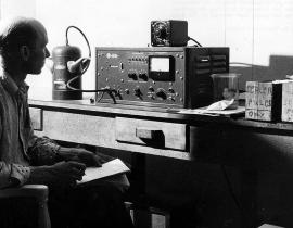 A Geiger counter being used in 1955
