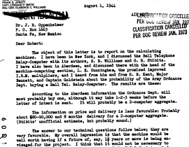 Letter from John von Neumann to J. Robert Oppenheimer about purchasing IBMs for Los Alamos