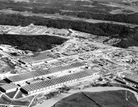 An aerial photograph of the K-25 Plant in 1945