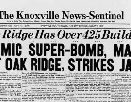 The front page of the Knoxville News Sentinel on the evening of August 6, 1945