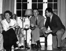 Dorothy McKibbin, J. Robert Oppenheimer, and Victor Weisskopf at a party